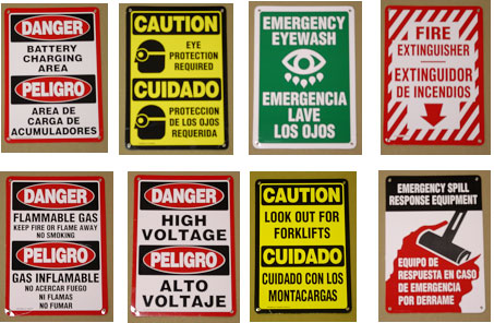 Bilingual Safety Signs.